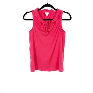 J. Crew Pink Ruffle Collar Neck Tank Top Blouse 0